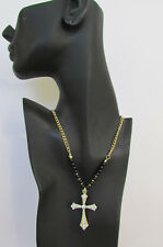 New Women Fashion Necklace Metal Cross Rhinestones Silver Turquoise / Gold Black