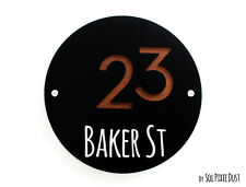 Modern House Numbers, Round Black with Marine Wood - Sign Plaque - Door Number