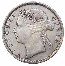 1893 Straits Settlements Silver 10 Ten Cents British Queen Victoria KM#11