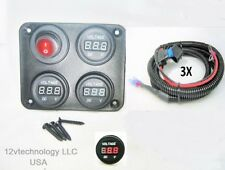 """Three battery or Bank Voltmeter Display Test Monitor w/ XLong 72"""" Fused Cables"""