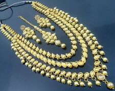 LCT KUNDAN GOLD TONE RANI HAAR NECKLACE SET BOLLYWOOD BRIDAL WEDDING JEWELRY
