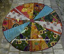 """Vintage Kantha Quilt 72"""" Round Patchwork Hippie Cotton Blanket Indian Tapestry"""