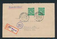 All. Bes. 1946, Mi. 930 Brief, portorichtige MeF auf R-Brief!