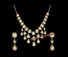 Diamond Silver Polki Party Necklace Set Hand-Made Estate 8.92ct Antique Rose Cut