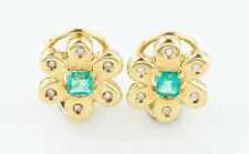 18k Yellow Gold Emerald and Diamond Flower Earrings