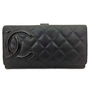 CHANEL Combon Line Black Lambskin Long Bifold Wallet /C0807