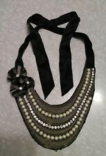 Beautiful vintage, antique pearl and rhinestone bib necklace, dress collar.