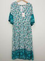BOHO AUSTRALIA Womens Size M or 12 Green Floral Print Dress NEW + TAGS