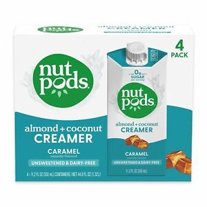 nutpods Caramel, Unsweetened Dairy-Free Liquid Coffee Creamer Made From Almonds