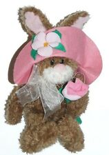 Gibson Greeting Rabbit Bunny Pink Floppy Hat Rose Plush Stuffed Animal Toy