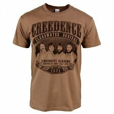 Mens Retro Creedence Clearwater Revival 1971 Rock T-shirt Brown CCR Medium - Chest 38-40in Black Print