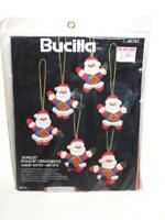 Vintage Bucilla Super Santa Christmas Ornament Felt Applique Kit NEW Set 6 NIP