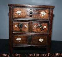 "14,4"" Alte China Huanghuali Holz Inlay Shell Dynastie Schublade Schrank Kabinett"