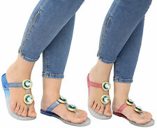 Ladies Girl Beach Summer Retro Diamante Jelly Sandals Flip Flop Women Shoes Size