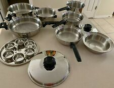 10 pc Vintage Kitchen Craft Stainless Steel West Bend 5Ply Cookware Vapor Valves