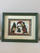 Snowman Green Wood Frame Christmas Picture Used.