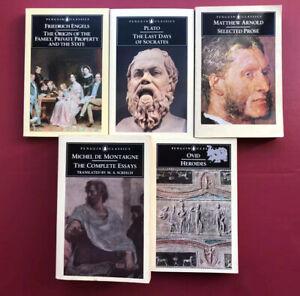 Penguin Classics Lot Of Five Philosophy & Literature Montaigne, Plato, Engels,