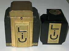 "Vintage Guerlain Black Glass Baccarat Style Perfume Bottle/Box Liu Empty/Open 3"""