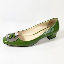PRADA Women's Signature Plate Pumps Green Patent Leather Low Heels Size 38
