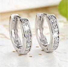 18k White gold Filled CZ Sapphire Stud Earrings Hoop charming Womens Jewellery