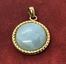 Vintage Sterling Silver Necklace 925 Pendant Vermeil Italy Jade Gold Tone