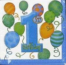 "1st Birthday ""Blue Balloons"" Party Napkins/Serviettes 16 pack 33cm x 33cm"