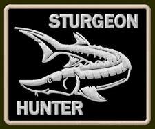 "STURGEON HUNTER EMBROIDERED PATCH ~3-1/8"" x 2-1/2"" BORDADO PARCHE AUFNÄHER FISH"