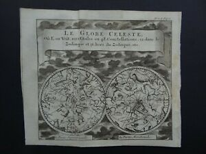 1743 Atlas SANSON  Celestial World map - Globe Celeste