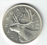 CANADA 1952 HIGH RELIEF 25 CENTS QUARTER KING GEORGE VI CANADIAN SILVER COIN