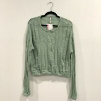 NWT Free People Angel Soft Pullover Sweater In Mint Fresh Combo Size Small S