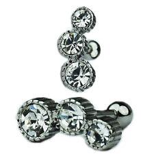 1,2mm Glitzer Ohr Helix Piercing Schmuck mit 3 Kristall Kugeln Silber Gold boho