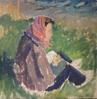 Impressionist Karl Adser 1912-1995 Woman At Sea Beach 17 7/8x17 11/16in
