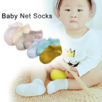 KQ_ JP_ 5 Pairs Solid Infant Baby Girl Boy Soft Breathable Mesh Ankle Floor Sock