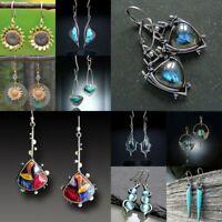Retro Natural Rainbow Moonstone Jewelry Dangle Earrings Ea Women/'s E4J3