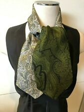 Liberty Of London Greens & Grey Paisley Double-sided Scarf 105cmx13cm Silk Twill