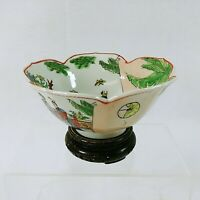 Asian Decorative Bowl Lotus Flower Shape Hand Painted Chop Marked Made in Macao