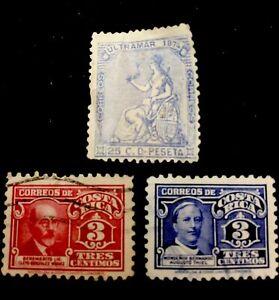 ?1874 Costa Rica Stamps. Ultramar, Biquez,Thiel