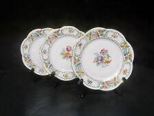Vintage Hand Painted Bavarian Dresden Flowers set of 3 Salad Plates   ..
