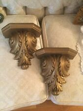 Vintage Pair Wall Shelf Gold