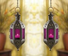 2  Hanging Candle Lantern Mystical Moroccan Style  w/ Purple Pressed Glass