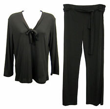 DKNY Women Sz M Black Blouse Top 3/4 Sleeve V Neck with Matching Tie Belt Pants