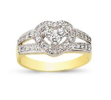 9CT GOLD LADIES CUBIC ZIRCONIA CZ HEART BOMBAY ETERNITY BAND WEDDING RING BOX