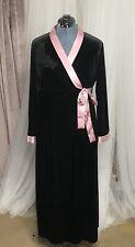 Velvet Dressing Gown Vintage Lingerie California Dynasty Size Medium Black Pink