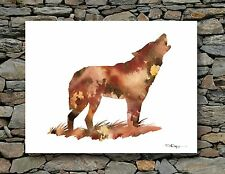 WOLF Abstract Contemporary Watercolor ART 11 x 14 Print by DJR
