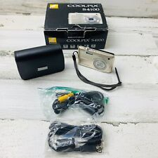 Nikon COOLPIX S4100 Digital Camera SIlver w/ Battery, Case, Box and Cords