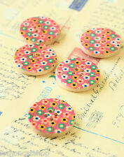 Pink Flowers Buttons 5pc zakka sewing notions scrapbooking cardmaking DIY crafts