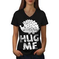 Wellcoda Hug Me Hedgehog Fun Womens V-Neck T-shirt, Humor Graphic Design Tee