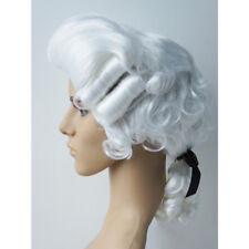 Perruque Baroque Homme Court Wig Blanc avec Ruban Taille Unique Blanche