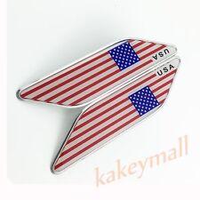 Chrome Auto Sticker Decal USA US American Flag Badge Emblem Accessory Trim 2PCS