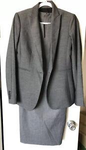 Ann Taylor 2 Piece Career Work Grey Dress Suit Set Dress - Blazer Size 00/0 New